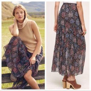Anthropologie Moon Lake Maxi Floral Boho Skirt